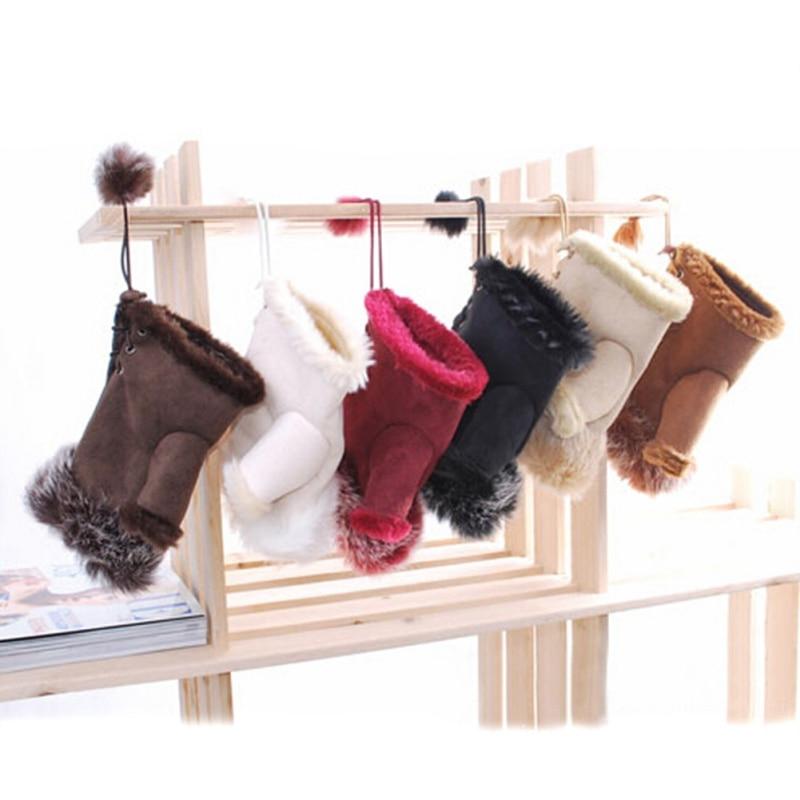 Fashion Women Faux Rabbit Fur Hand Winter Fingerless Gloves Mittens Warm Leather Suede Mittens Warmer Wrist Gloves