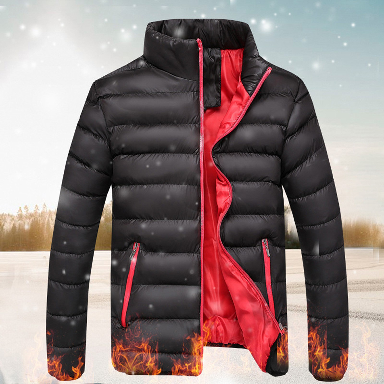 Winter Jacket Mens Coats Stand-Collar Male Parka Ultralight Outdoor Fashion Solid Thick