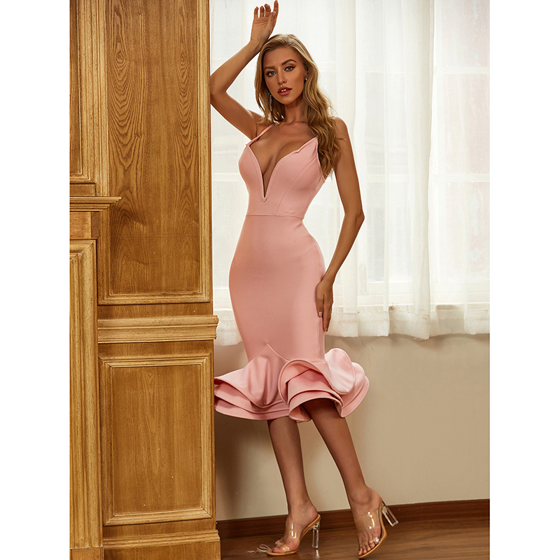 Hot Bodycon Bandage Dress 2020 Sexy V Neck Backless Ball Gown Pink Women Summer Dress Fashion Evening Party Dress Vestido 2