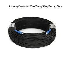 Cabo de fibra ótica sc para sc, fibra ótica de apoio automático para ambientes internos e externos com 20m/30m/40m/50m/80m/100m