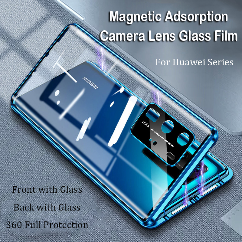 Magnetic Phone Case For Huawei P40 Pro Mate 20 Mate 30 Pro P30 Camera Lens Glass Metal Bumper Honor V30 20 Pro Nova 6 SE 5 Case