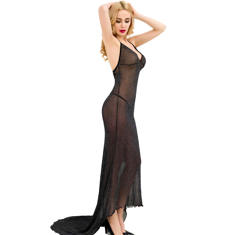 Halter Backless <font><b>Lingerie</b></font> Nightgown Romance Transparent Women Elegant <font><b>Vestidos</b></font> <font><b>Sexy</b></font> <font><b>Mujer</b></font> Attractive Slimless Party Dress RW80231 image