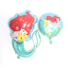 New Large Cartoon Mermaid Princess Foil Balloon Happy Birthday Balloons for Little Baby Girl Party Decor Kids Gift Toy
