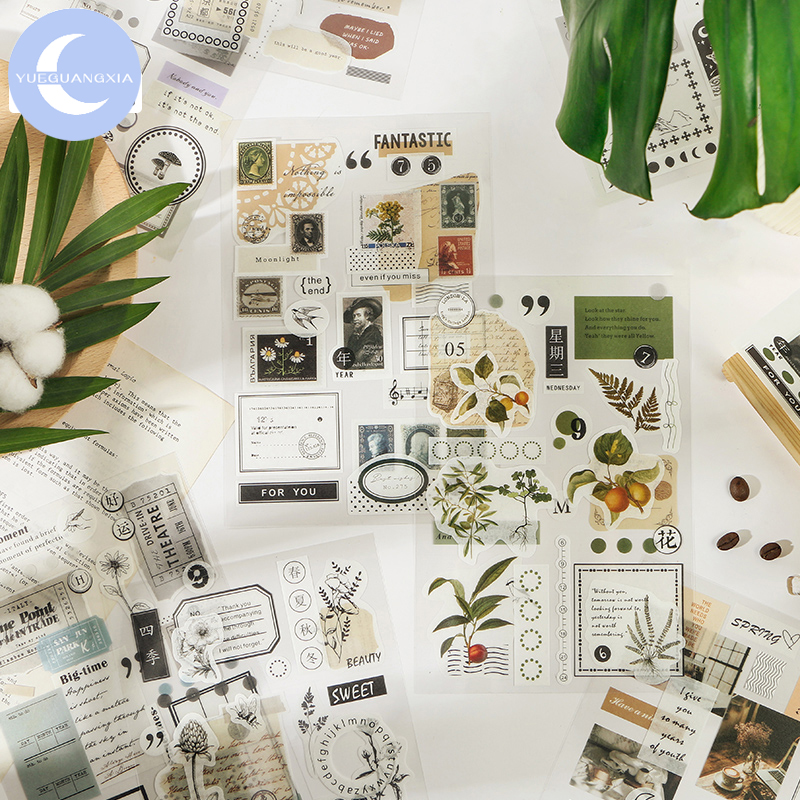 Mr.Paper 8 Designs Retro Stamp Plants Washi Diary To Do List Decorative PET Sticker Scrapbooking Sticky Label Diary Stationery