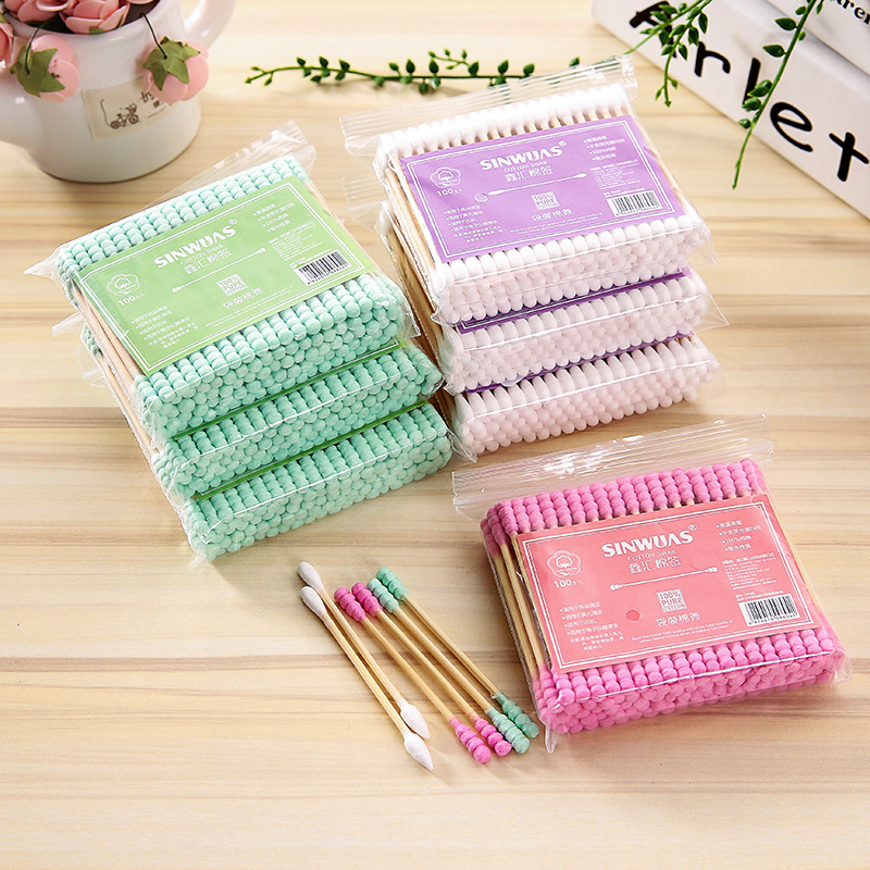 100Pcs Double Head Cotton Swab Microbrush Cosmetic Makeup Cotton Swab Medical Cleaning Tips Ear Buds Cleaning Tools