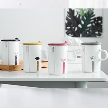Three-piece suit ceramic cup creative matte gift mug simple lovely little fish High temperature resistance