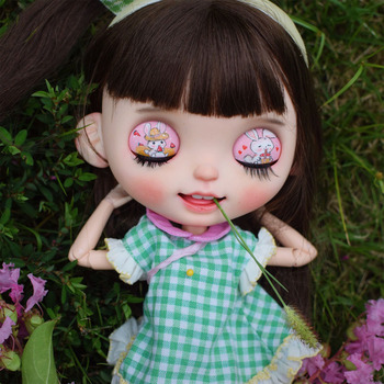 1/6 blyth doll toy bjd joint body white skin Long brown hair with open mouth showin with  joint body gift makeup face naked doll