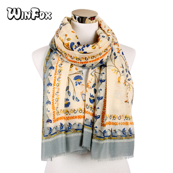 Winfox Floral Womens Blanket Scarf  Warm Winter Shawls And Wraps Boho Ladies Plaid Scarves Foulard Femme woman winter wool scarf blanket plaid oversize wraps with tassel ladies soft warm pashmina foulard femme big blanket scarves