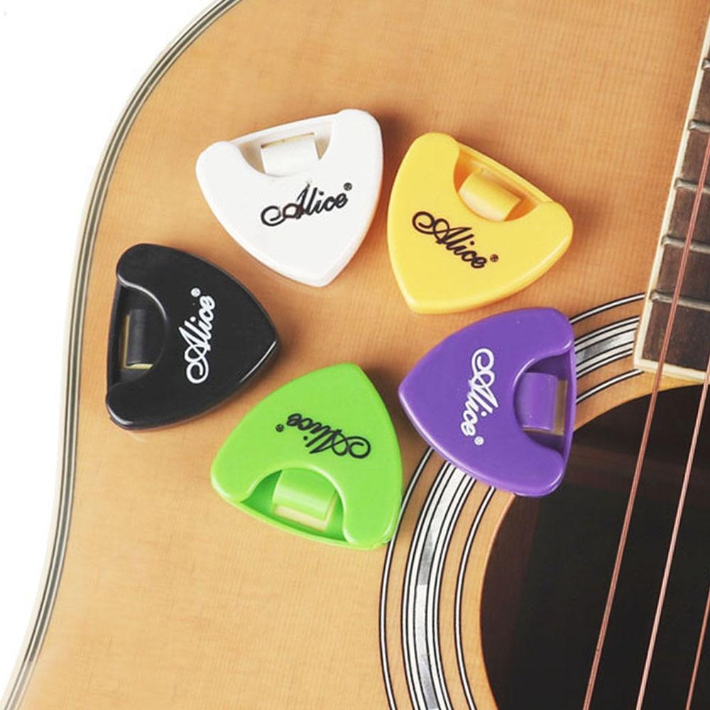 5pcs Alice Guitar Pick Holder A010A Plastic Plectrum Case Mediator Quick Storage Triangle Shaped Self-Adhesive Clip Guitar Parts