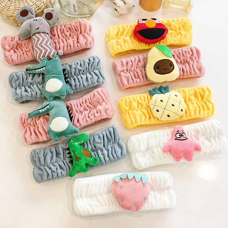 New Cute Cartoon Animal Headband Wide Brim Plush Hair Band Adult Wash Makeup Wash Headband Hair Accessories
