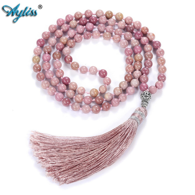 Ayliss 6mm Natural Rhodochrosite/Moss Carnelian Tassels Necklace 108 Beads Buddhist Prayer Tibetan Mala Multilayer Wrap Bracelet