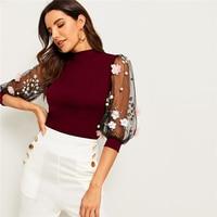 Blusa manga media malla aplique bordado otoño