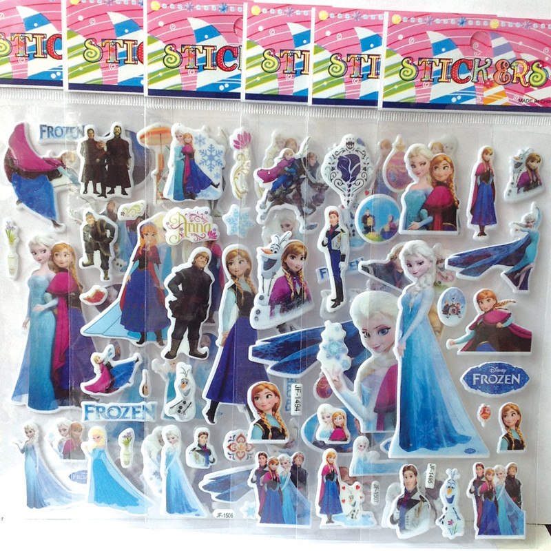 100 Pcs Disney Frozen Elsa Anna Princess 3D Stickers Toys Patrulla Canina Action Figures Toys Frozen Birthday Toys Stickers Gift