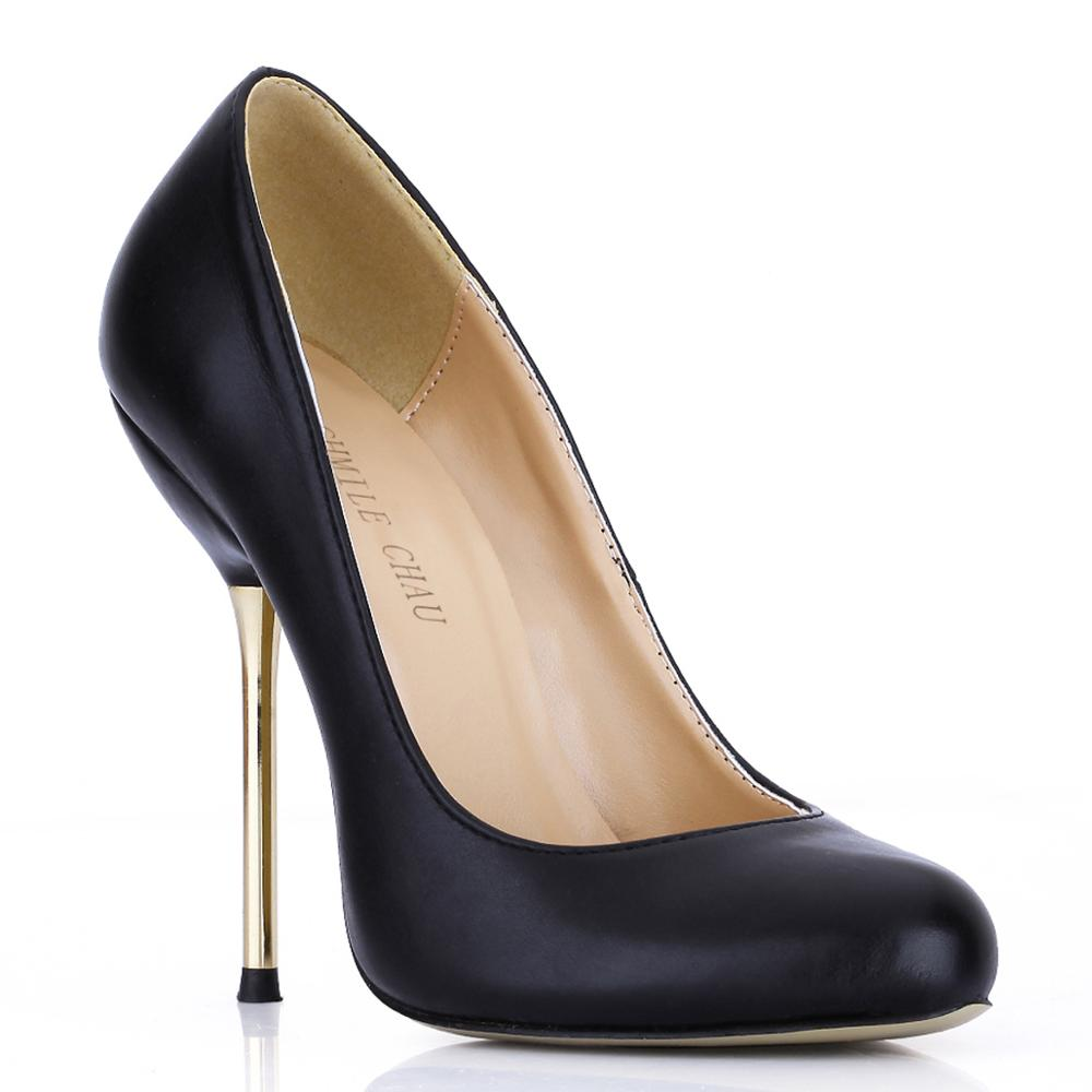 CHMILE CHAU Black Sexy Party Shoes Women Round Toe Stiletto Iron High Heels Plain Work Office Ladies Pumps Zapatos Mujer 3845-b1