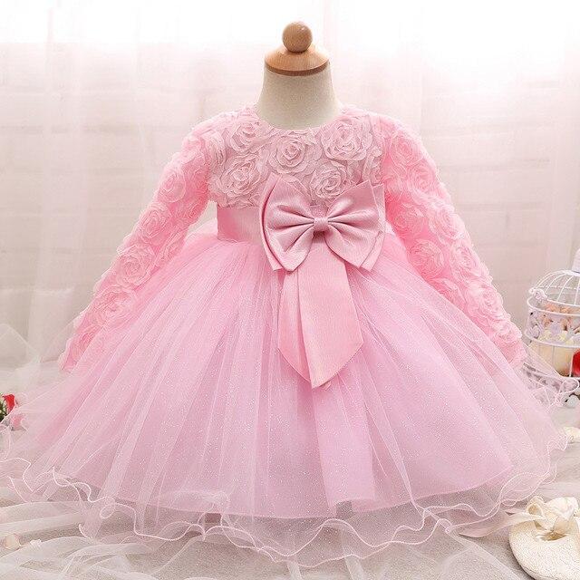 長袖幼児女の子のドレスのレースの花のための洗礼ドレス女の子初年度誕生日結婚式ベビー服