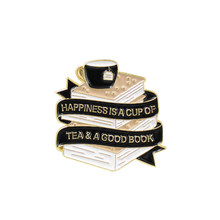 Nowa czarna biała wstążka książka filiżanka kawy broszka kreatywna kreskówka biżuteria koreańska fala studentów dzieci fala prezent szpilki