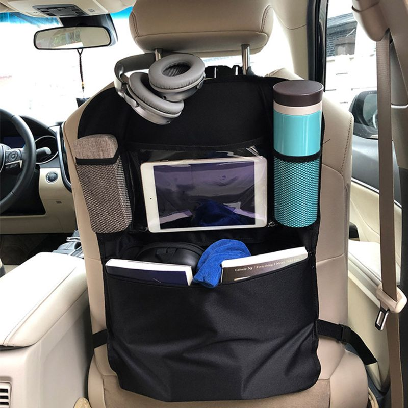 Car Back Seat Organizer Front Seat Storage Kids Pocket Bag Auto Travel Kick Mat