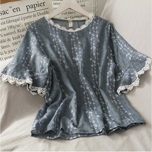 Embroidered Blouse Linen Shirt Women Lace Top Oversized Patc