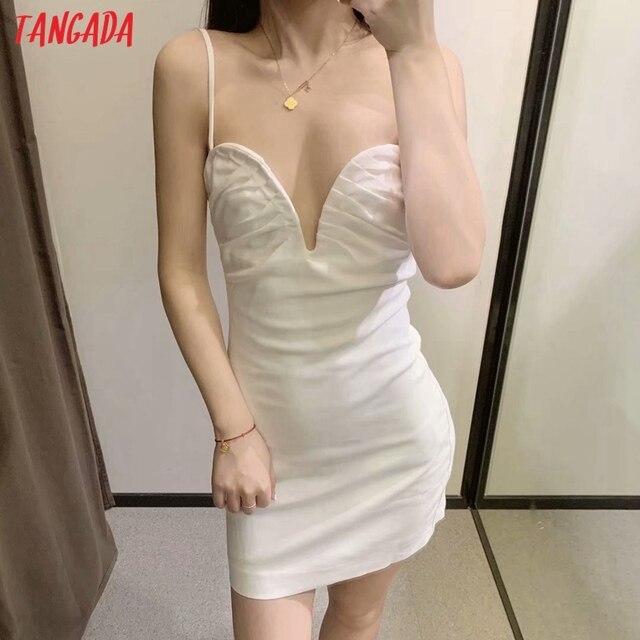 Tangada Women White Party Dress Sleeveless Backless 2021 Fashion Lady Dresses Robe 3H126 2