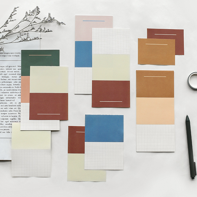 Mohamm 10 Sheet Color Matching Stickers Notes Memo Pad Simple Creative Korean Stationery Office School Supplies
