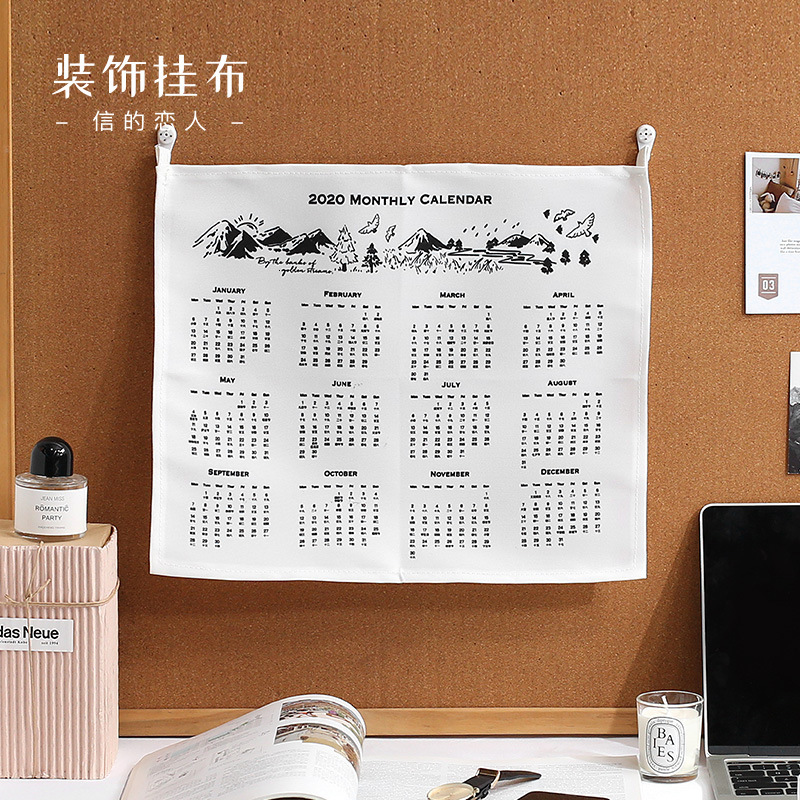 2020 Creative Personality Canvas Wall Calendar Concise Style Household Art Lovely Stationery