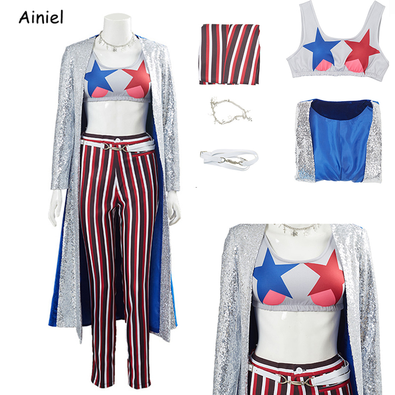 Birds of Prey Cosplay Costume  Necklace Coat Pants 4 Pieces Suits Halloween Costumes For Women Outfit