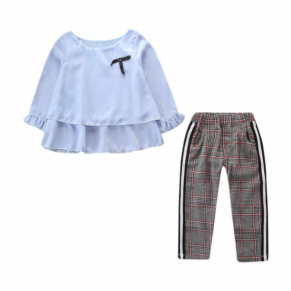 Одежда для маленьких девочек Футболка с оборками Топы + штаны в клетку, комплект одежды с длинными рукавами, осенне-зимняя одежда Ensemble Ropa