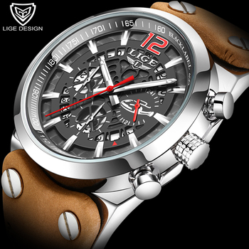 2020 LIGE Watch Men Chronograph Sport Mens Watches Quartz Clock Leather Male Wristwatch Relogio Masculino Fashion Gift for Men chronograph watch mens wallet gift set for male luxury wristwatch for men quartz leather strap wrist clock birthday gift reloj