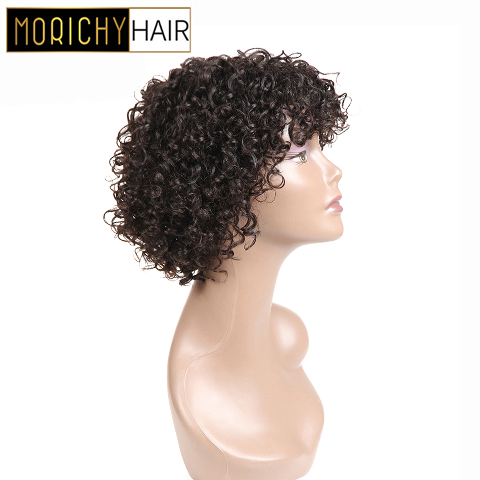 MORICHY Bouncy Curls Very Short Hair Bob Wigs Indian Non-remy Human Hair Wig Natural Black Hair Full Machine Wigs For Women