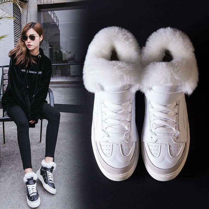 Shoes Sneakers Women Fashion Vulcanize Shoes Warm Women's Leather Winter ShoesWhite Sneakers Casual Women Shoes