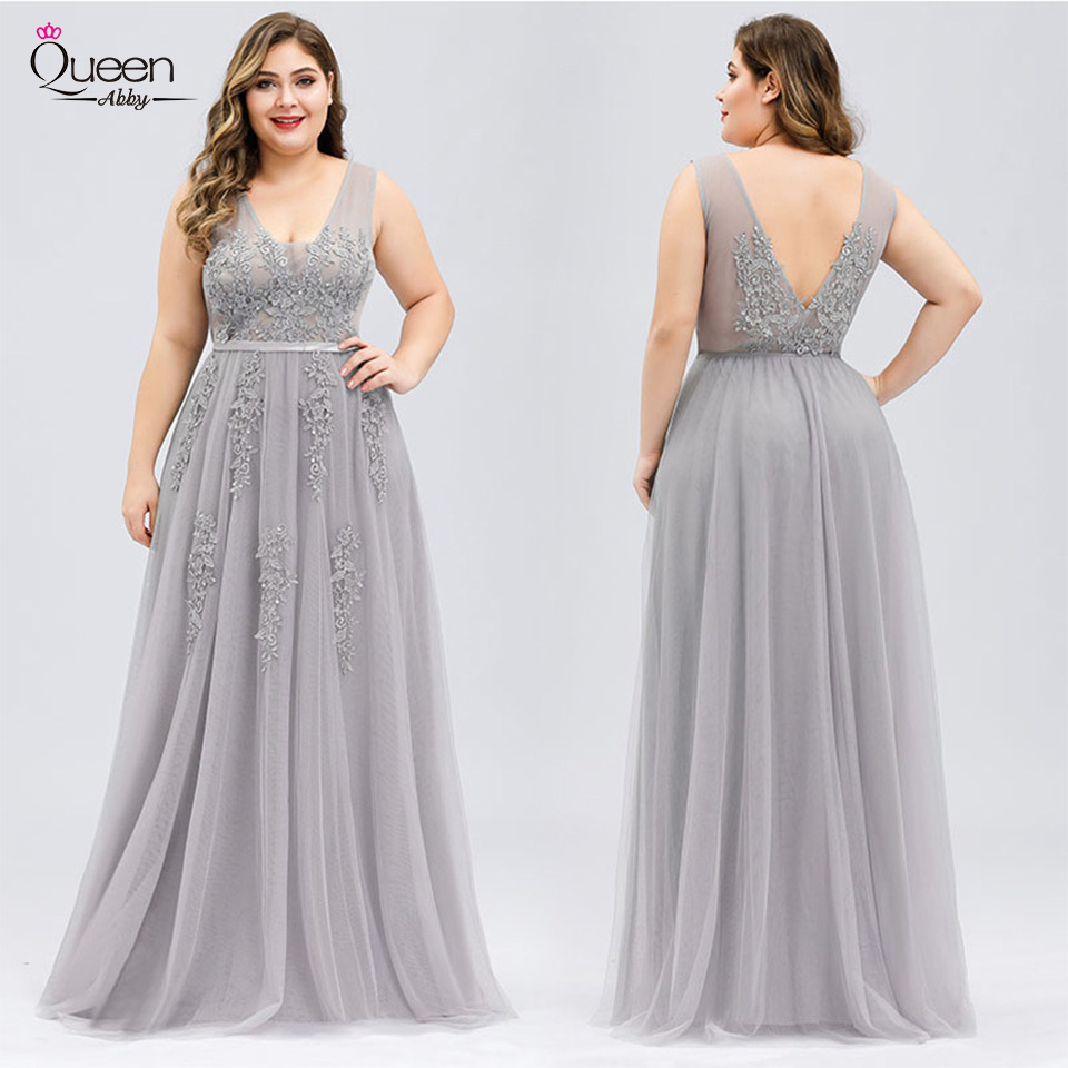 Plus Size Homecoming Dress Appliques Lace V-neck Tulle Dress Elegant Backless Dress For Party Vestidos De Fiesta De Noche
