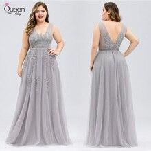 Plus Size Homecoming Dress Appliques Lace V-neck Tulle Dress Elegant Backless Dress for Party vestidos de fiesta de noche