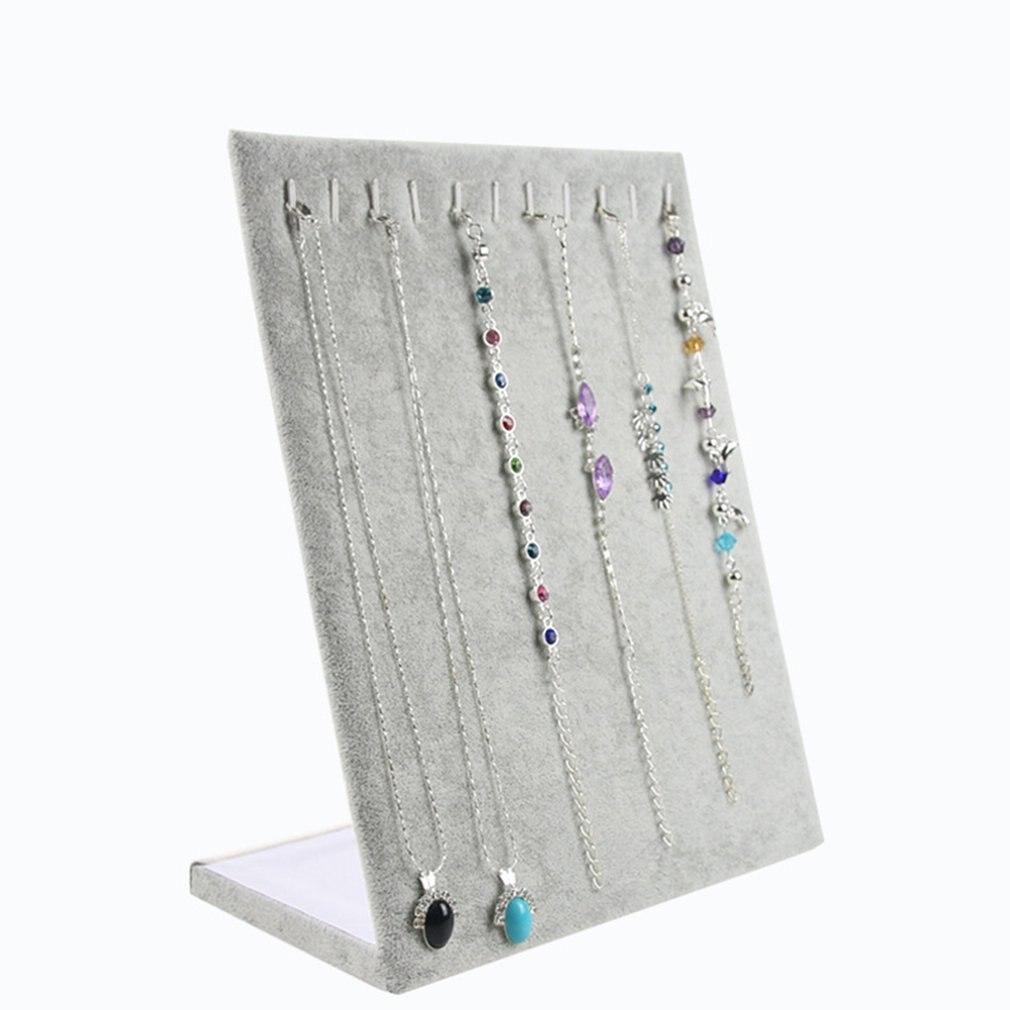 Velvet Bracelet Holder Display Stand Jewelry Display Shelf  L-Shaped 11 Position Necklace Rack Decoration Organizer Storage Rack