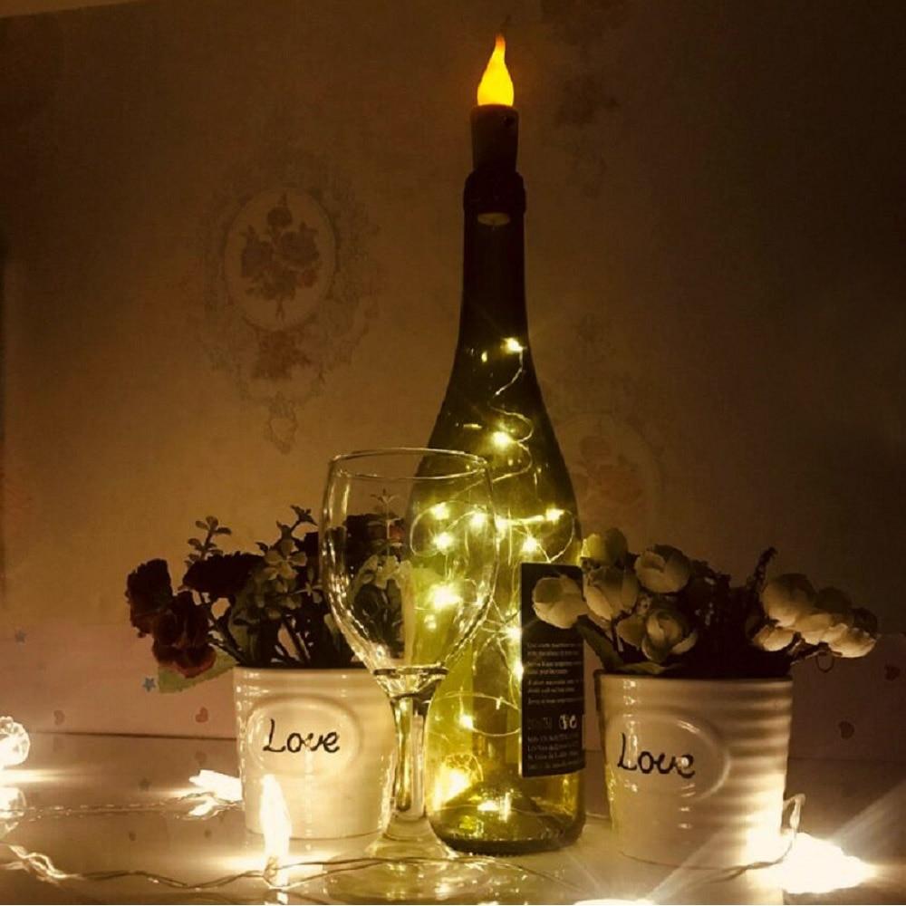 1/6/10pcs LED Wine Bottle Lights Candle Light Cork Garland DIY Christmas String Lights For Party Halloween Wedding Decoration