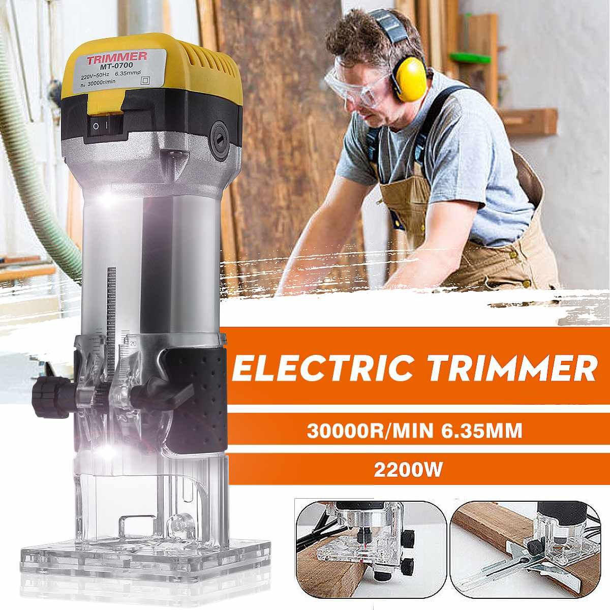 2200W 30000RPM  Woodworking Electric Trimmer Wood Milling Engraving Slotting Trimming Machine Hand Carving Machine Wood Router