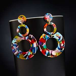 Exaggerated Drop Earrings for Women Acrylic Acetic Acid Sheet Geometric Circle