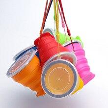 6 цветов, 300 мл, силиконовая чашка для путешествий, Выдвижная складная чашка для кофе, телескопическая складная чашка для чая, для спорта на открытом воздухе, тур, чашка для воды