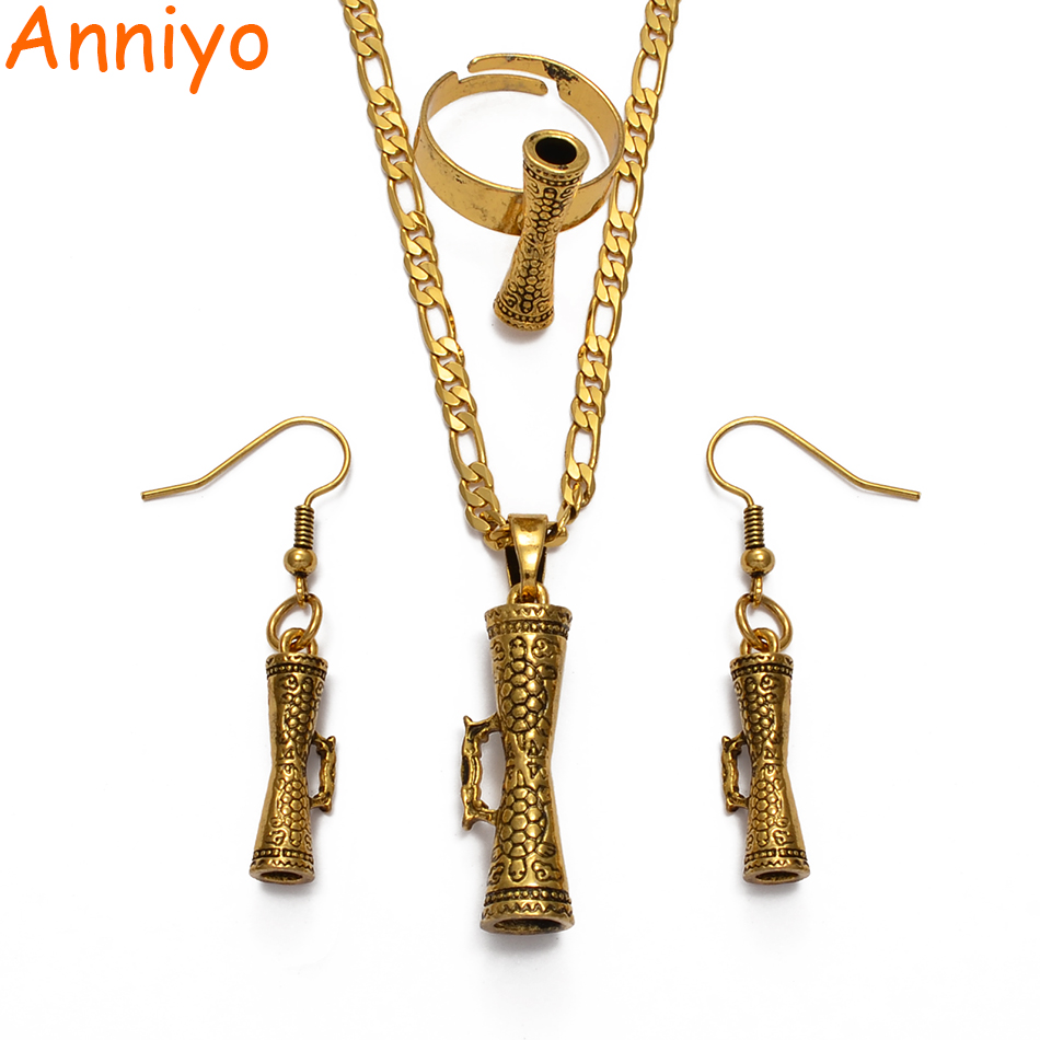 Anniyo Drum & Turtle Papua New Guinea Pendant Necklaces Earrings Ring Tortoise for Women Sea Turtle Jewelry Sets #217806