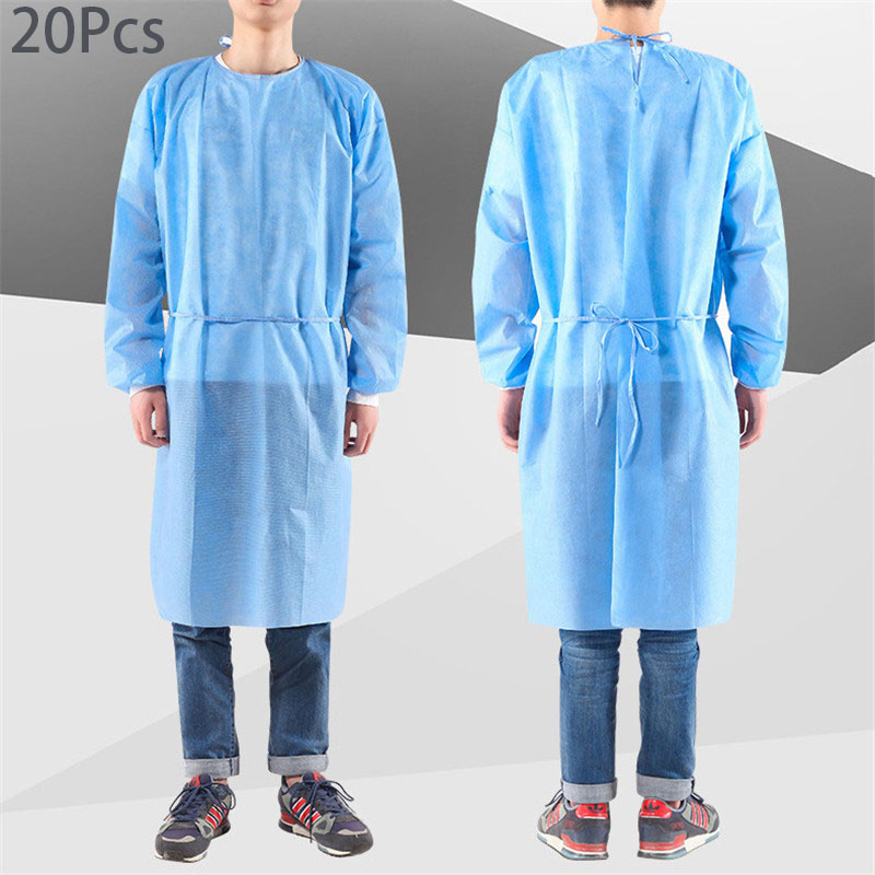 20Pcs New Non-Woven Splash Resistant Thin Section Isolation Gown Civilian Dustproof Disposable Protective Clothing