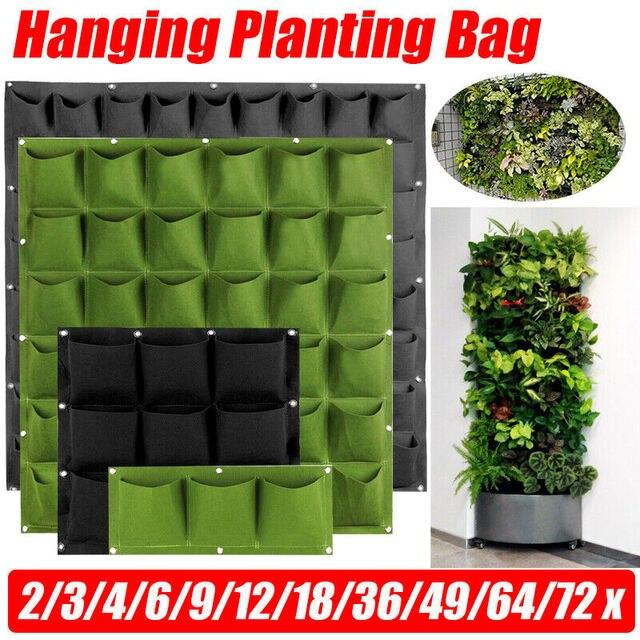 4/7/9/18/25/36/49/72 Pockets Garden Wall Hanging Planting Bags Green Plant Grow Planter Vertical vegetable Garden Supplies Bags
