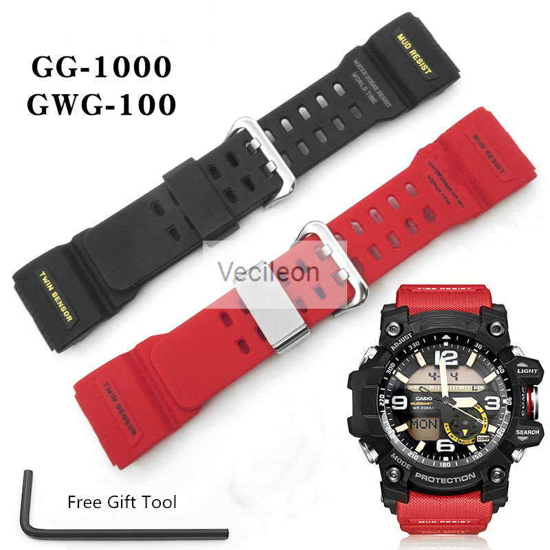 Original Resin Watchband For GG-1000 GWG-100 GSG-100 Men Sport Waterproof Replace Bracelet Strap Watch Accessories With Tools