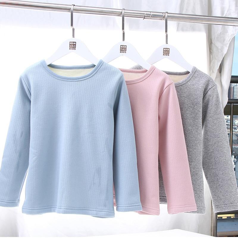 Kids Ribbed T-shirt Boys Solid T Shirt Girl Tshirt Toddler Top Children Baby 2019 Winter Plus Velvet Fleece Thermal Warm Thick