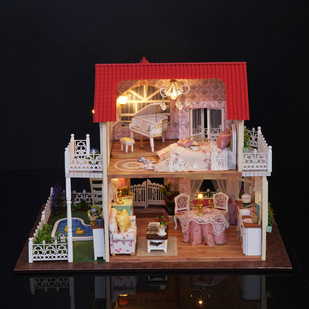 Nuevo DIY 3D casa de muñecas de madera habitación de princesa decoraciones hechas a mano Regalo de Cumpleaños niños juguete con muebles para regalo de cumpleaños - 2