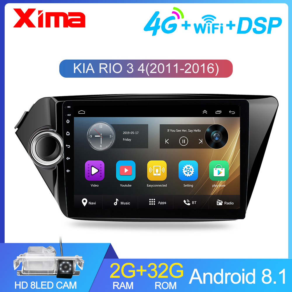 Car Android Multimedia Video Player For KIA RIO 3 4 2011 - 2016 2017 2din Car Radio Navigation Bluetooth autoradio With Car dvr image