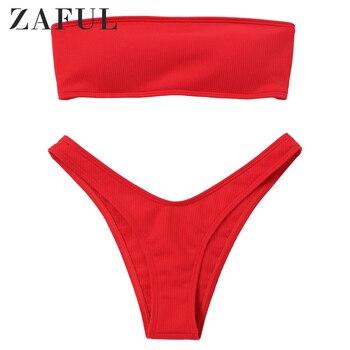 ZAFUL Women Ribbed High Cut Bandeau Bikini Set Swimwear Women Swimsuit Strapless Bikini Padded Bathing Suit