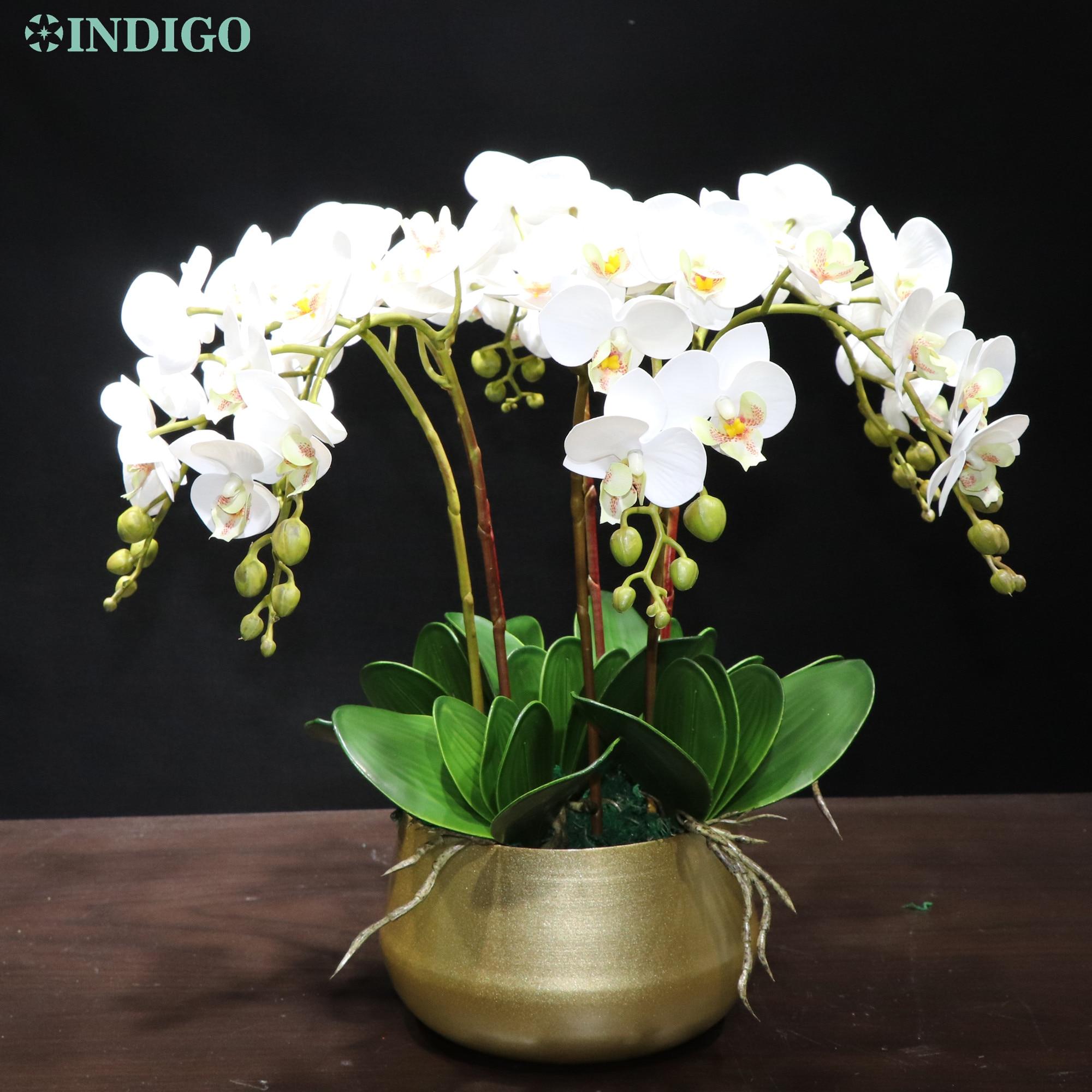 Орхидея Индиго-белая (7 шт., орхидея + 5 шт. листьев + горшок), «сделай сам», Цветочная композиция на ощупь, украшение для офиса, центральный элем...