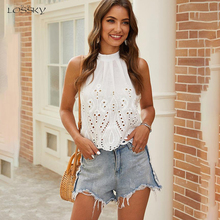 Blouse Women White Sleeveless Summer Hole Cropped Tops Casua