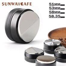 Tamper de café 51/53/58/58.35mm 304 aço inoxidável distribuidor de café em pó martelo base convexa acessórios de café