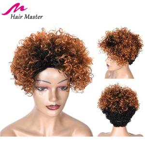 Image 2 - Short Curly Human Hair Wigs Afro Kinky Curly Human Hair Short Wigs Remy Hair Ombre Color for Black Woman