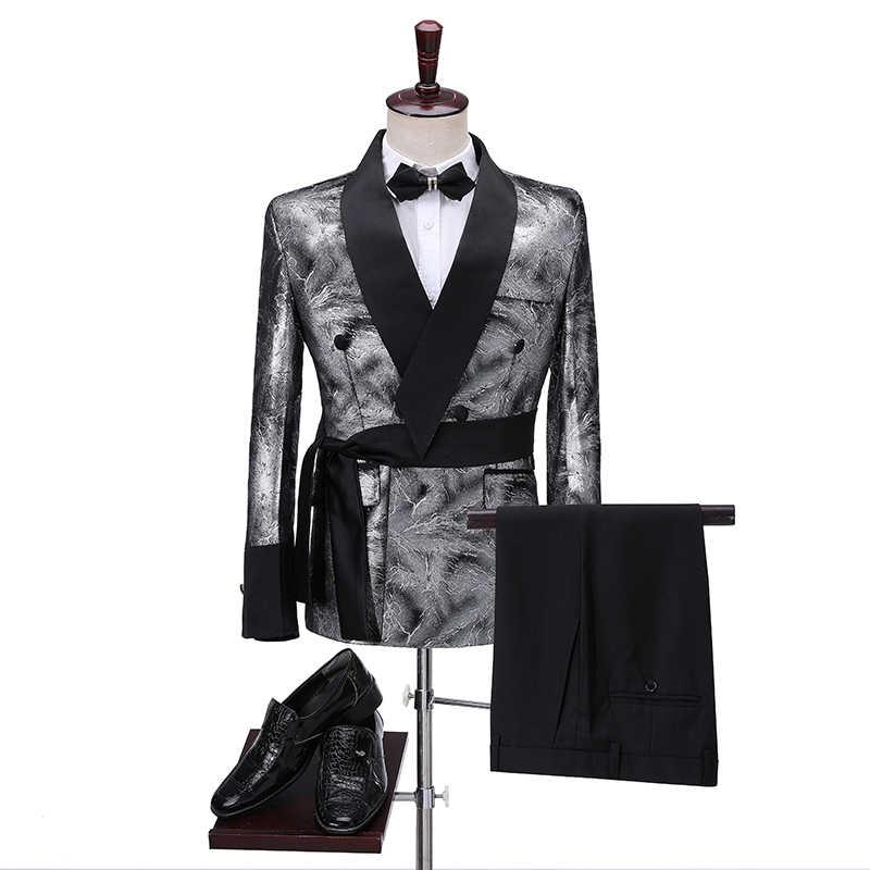Nieuwste Jas Broek Ontwerpen 2020 Slim Shiny Silver Roken Jas Italiaanse Smoking Jurk Double Breasted Mannen Pakken Voor Bruiloft Bruidegom